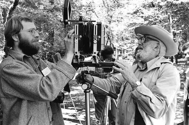Ansel Adams and Alan Ross during a workshop in Yosemite by Frank Niemeir