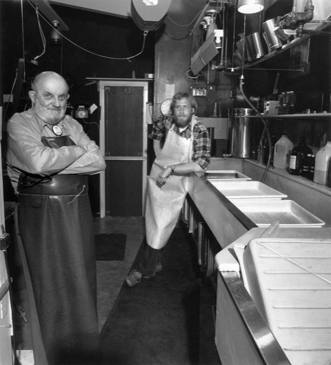 Ansel Adams and Alan Ross in the darkroom in Carmel, California by Marc Gaede