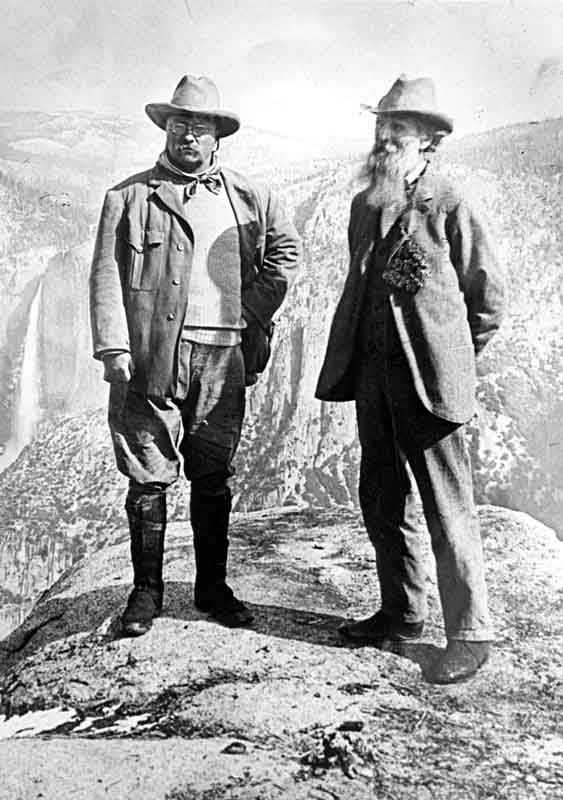 President Theodore Roosevelt and John Muir at Glacier Point in May of 1903