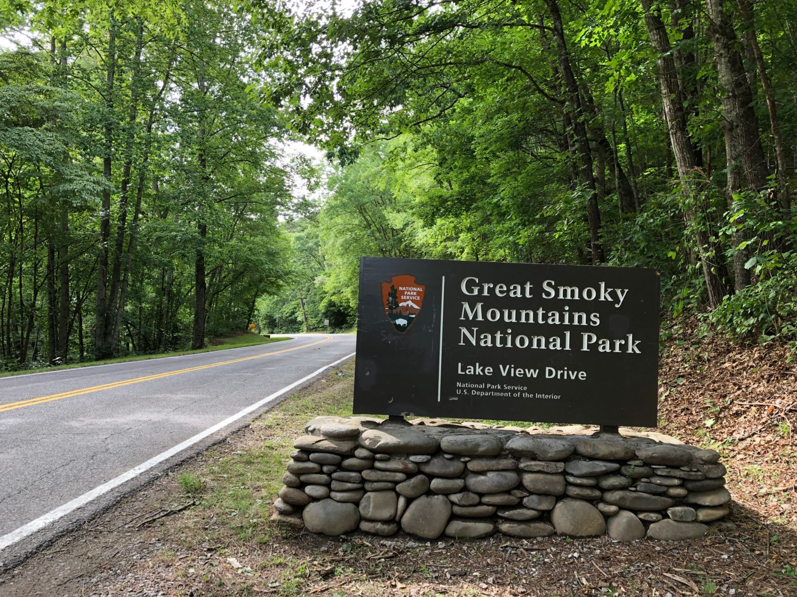 Great Smoky Mountains National Park sign, Lakeview Drive - photo by Jason Frye