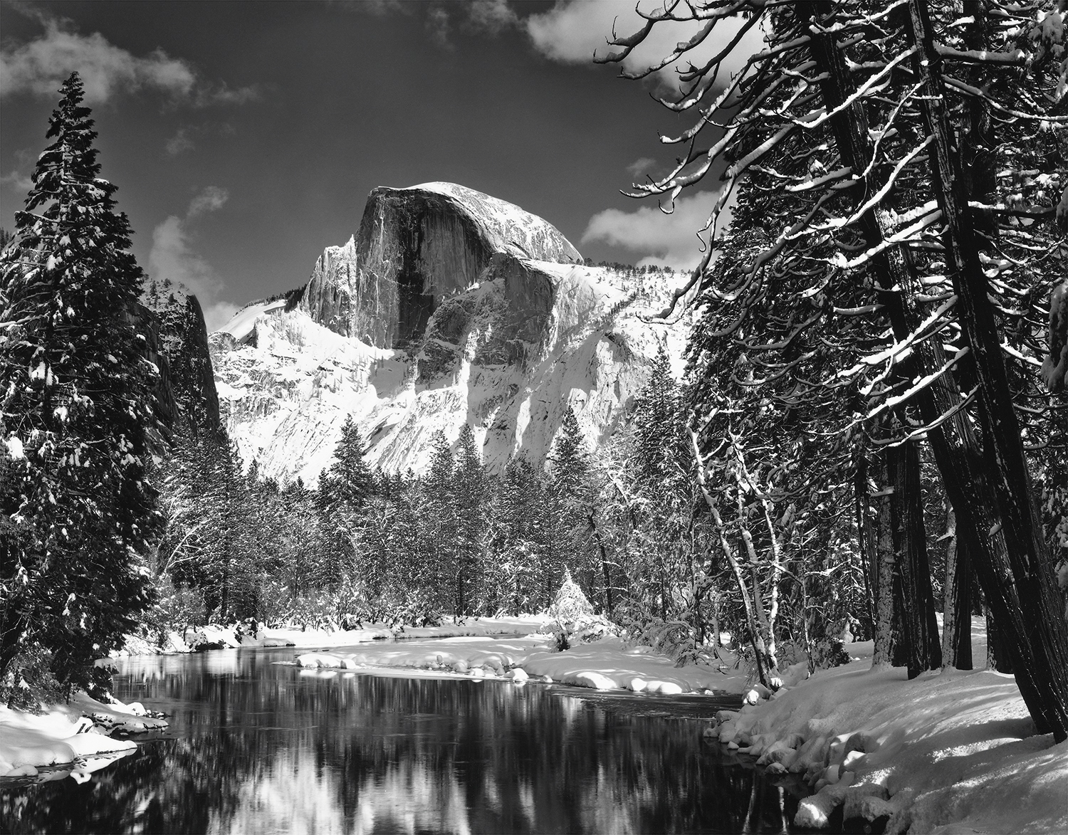 Half Dome, Merced River, Winter, 1938 Photograph by Ansel Adams