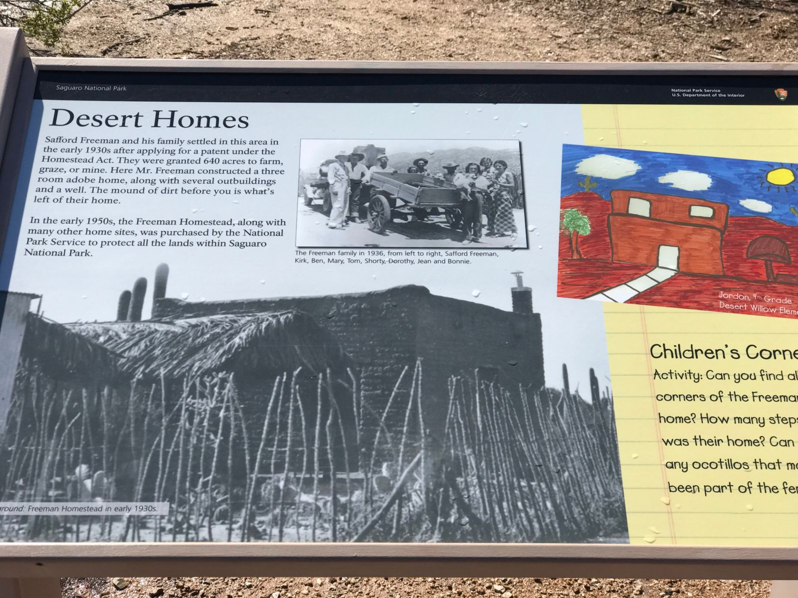 Saguaro National Park plaque with information on Desert Homes