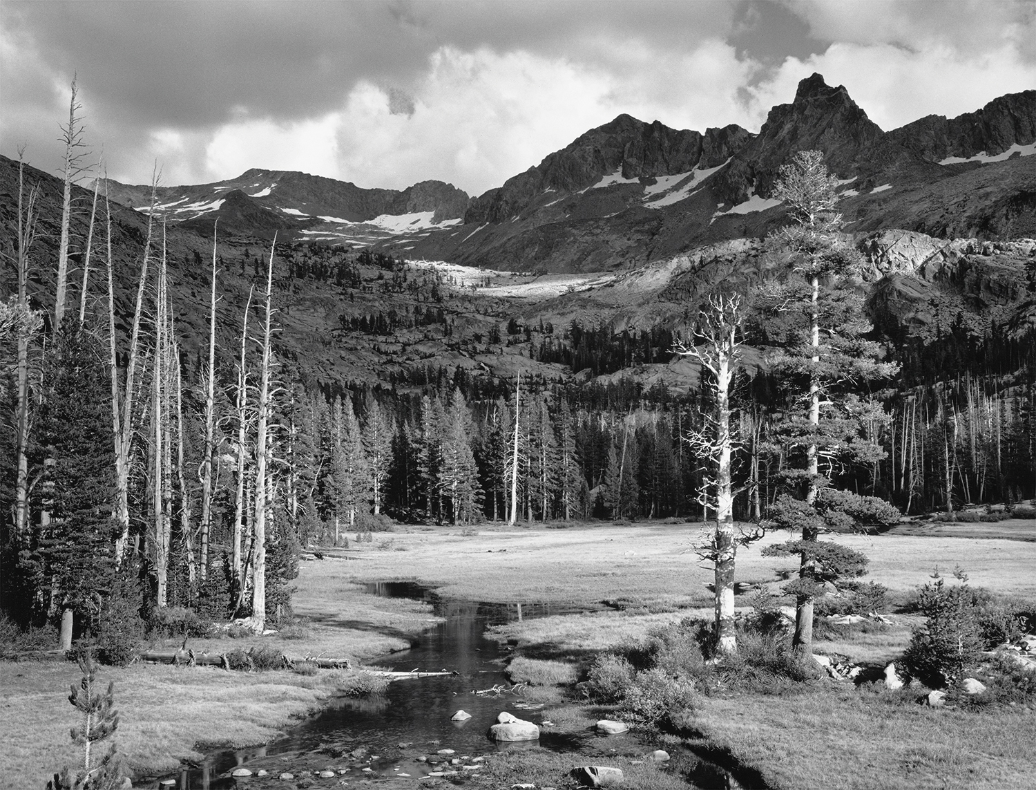 Mount Ansel Adams, Lyell Fork of the Merced River, c. 1935 Photograph by Ansel Adams