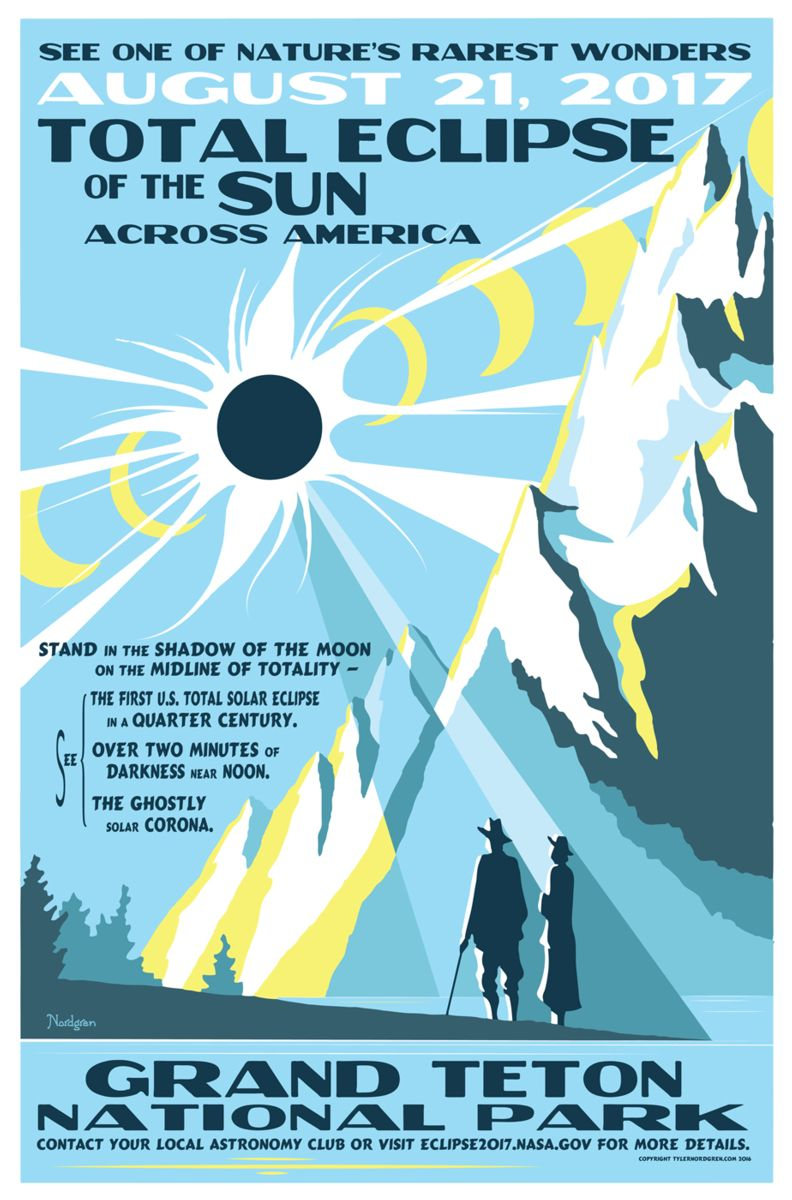 Grand Teton National Park eclipse - poster by Tyler Nordgren
