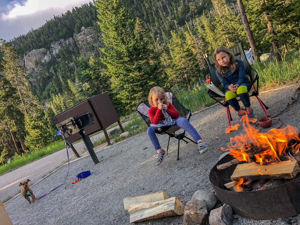Raising outdoorsy kids means plenty of downtime at the campsite. Pictured: Camp Dick Campground, near Rocky Mountain National Park.